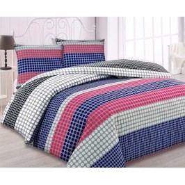 Flanelové obliečky Points modré jednolôžko - štandard, prikrývka: 1ks 140x200 cm, vankúš: 1ks 90x70 cm Flanel