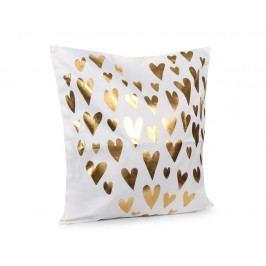 Obliečka na vankúšik Gold Srdiečka biela 45x45 cm Polyester