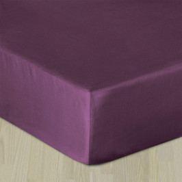 Napínacie saténové prestieradlo fialové Jednolôžko Bavlna - satén