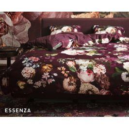 Obliečky Essenza Fleur Burgundy 140x200 jednolôžko - štandard Bavlnený satén