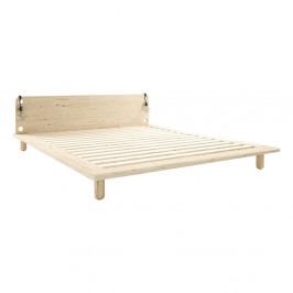 Dvojlôžková posteľ z masívneho dreva s lampami Karup Design Peek, 160 x200 cm