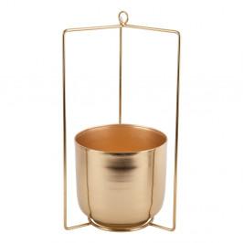 Závesný kovový kvetináč v zlatej farbe PT LIVING Spatial, výška 36 cm