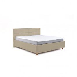 Béžová dvojlôžková posteľ s roštom a úložným priestorom PreSpánok Grace, 160 x 200 cm