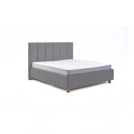 Modrosivá dvojlôžková posteľ s roštom a úložným priestorom PreSpánok Wega, 180 x 200 cm