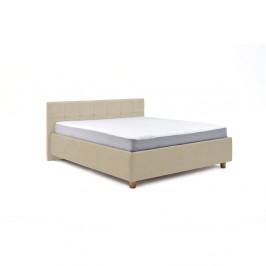 Béžová dvojlôžková posteľ s roštom a úložným priestorom PreSpánok Leda, 160 x 200 cm