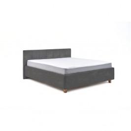 Svetlosivá dvojlôžková posteľ s roštom a úložným priestorom PreSpánok Leda, 180 x 200 cm