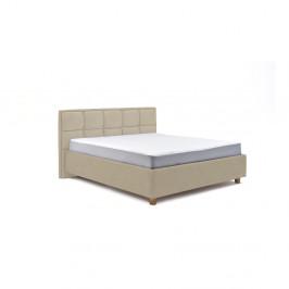Béžová dvojlôžková posteľ s roštom a úložným priestorom PreSpánok Karme, 160 x 200 cm