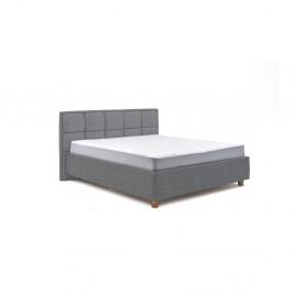 Modrosivá dvojlôžková posteľ s roštom a úložným priestorom PreSpánok Karme, 160 x 200 cm