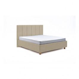 Béžová dvojlôžková posteľ s roštom a úložným priestorom PreSpánok Wega, 180 x 200 cm