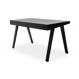 Čierny písací stôl s nohami z jaseňového dreva EMKO, 140 x 70 cm