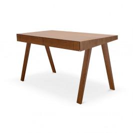 Hnedý písací stôl s nohami z jaseňového dreva EMKO, 140 x 70 cm