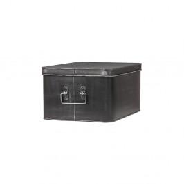 Čierny kovový úložný box LABEL51 Media, šírka 35 cm