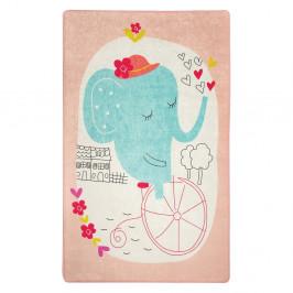 Detský protišmykový koberec Chilam Elephants Bike 140 x 190 cm