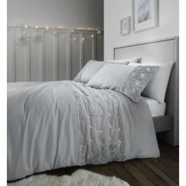Sivé mikroplyšové obliečky Catherine Lansfield Cosy Snowflake, 135 x 200 cm