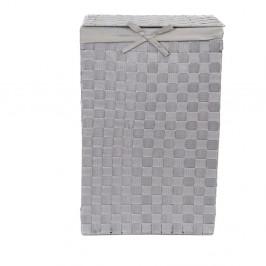 Sivý kôš na bielizeň s vekom Compactor Laundry Basket Linen, výška 60 cm