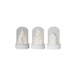 Biela sklenená LED dekorácia Best Season Kupol, výška 8,5 cm