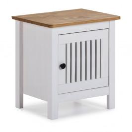 Biely drevený nočný stolík Marckeric Bruna