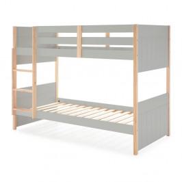 Sivá detská poschodová posteľ s nohami z borovicového dreva Marckeric Kiara