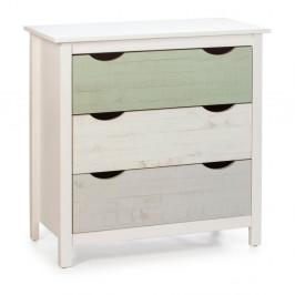 Biela detská komoda s 3 zásuvkami z borovicového dreva Marckeric Perle