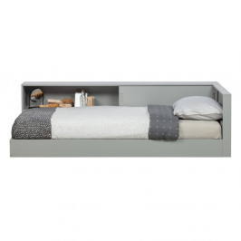 Sivá jednolôžková posteľ z borovicového dreva WOOOD Connect