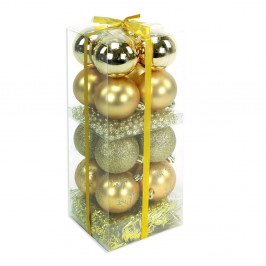 Set 16 vianočných ozdôb a girlandy v zlatej farbe Unimasa Brightness