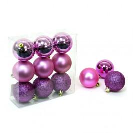 Sada 9 vianočných ozdôb v ružovo-fialovej farbe Unimasa Caja