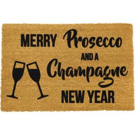Čierna rohožka z prírodného kokosového vlákna Artsy Doormats Champagne New Year, 40 x 60 cm