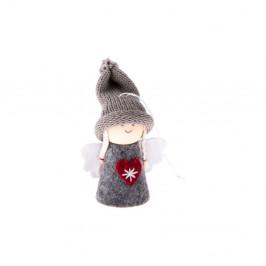 Sivá textilná závesná ozdoba v tvare anjela Dakls, dĺžka 9 cm