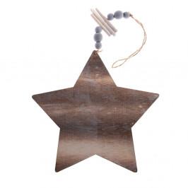Drevená závesná ozdoba v tvare hviezdy Dakls, dĺžka 22,5 cm