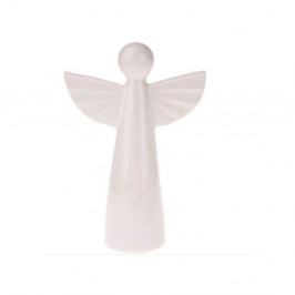 Biela keramická dekorácia v tvare anjela, výška 12,6 cm