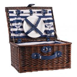 Pruhovaný prútený piknikový kôš s vybavením pre 2 osoby Navigate Basket