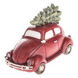 Červené vianočné auto s LED svetlom Dakls, dĺžka 11,5 cm