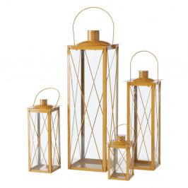 Sada 4 sklenených lampášov v zlatej farbe Boltze Farol