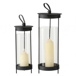 Sada 2 čiernych sklenených lampášov Boltze Tubo