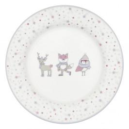 Bielo-ružový tanier z kameniny Green Gate Kids