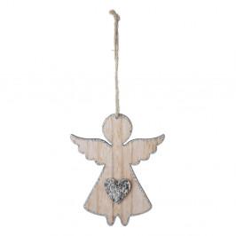 Malá závesná vianočná dekorácia v tvare anjela so srdcom Ego Dekor
