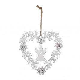 Biela vianočná ozdoba v tvare srdca s anjelom Ego Dekor