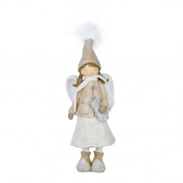 Biela vianočné dekorácie v tvare anjela s darčekom Ego Dekor