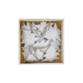 Sada 10 bielych vianočných ozdôb z dreva v tvare stromčeka Ego dekor X-mass