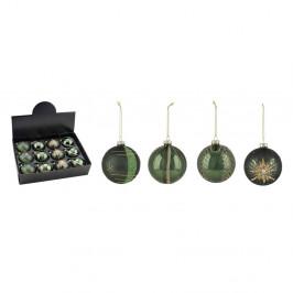 Sada 12 zelených vianočných ozdôb Ego Dekor