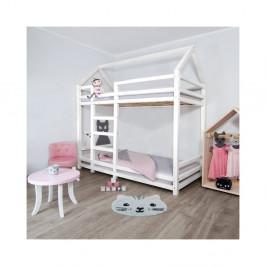 Biela drevená poschodová detská posteľ Benli Twan, 120 x 200 cm