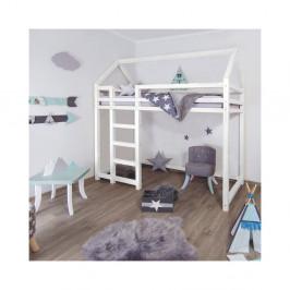 Biela drevená vyvýšená detská posteľ Benli Nesty, 90 x 200 cm