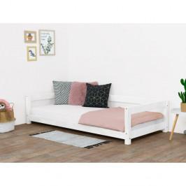 Biela detská drevená posteľ Benlemi Study, 90 x 160 cm