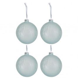 Sada 4 bielo-modrých sklenených vianočných ozdôb J-Line Xmas, ø 12 cm