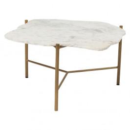 Biely konferenčný stolík s mramorovou doskou Kare Design Piedra, 76 x 72 cm