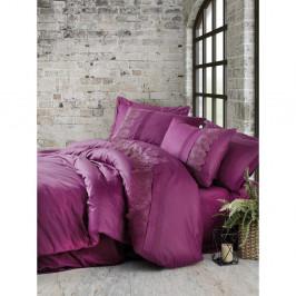 Fuksiové bavlnené obliečky s plachtou Cotton Box Enzo, 200 x 220 cm