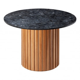 Čierny žulový jedálenský stôl s podnožím z dubového dreva RGE Moon, ⌀ 105 cm