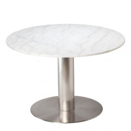 Biely mramorový jedálenský stôl s podnožím v striebornej farbe RGE Pepo, ⌀ 105 cm