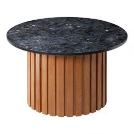 Čierny žulový konferenčný stolík s podnožím z dubového dreva RGE Moon, ⌀ 85 cm