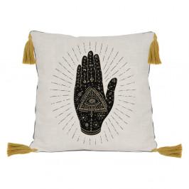 Čierno-béžový vankúš Madre Selva Hand, 45 x 45 cm